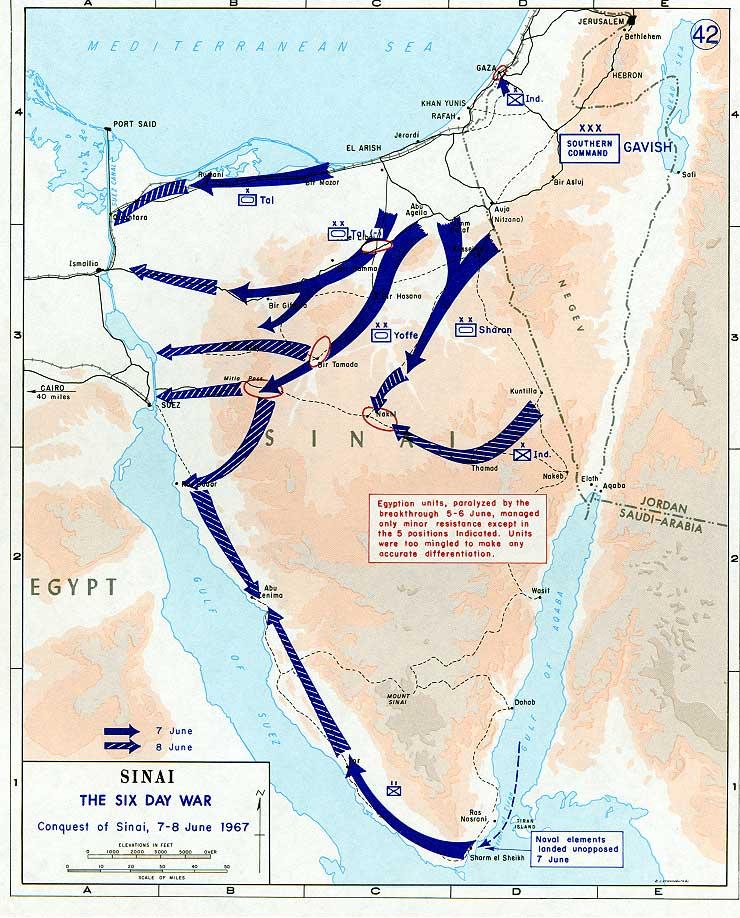 El avance israelí en el Sinaí al sexto día de la guerra - Wikimedia Commons