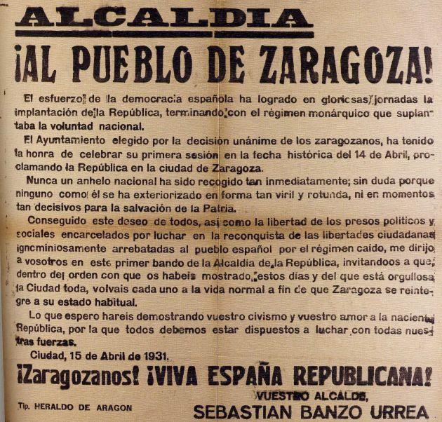 Bando anunciando la llegada de la República a Zaragoza