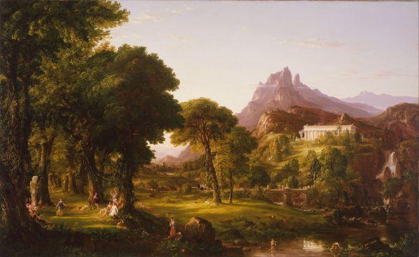 Obra pictórica titulada Dream Of Arcadia, del pintor norteamericano Thomas Cole, autor de una extensa obra paisajística de inspiración romántica. Circa 1838.