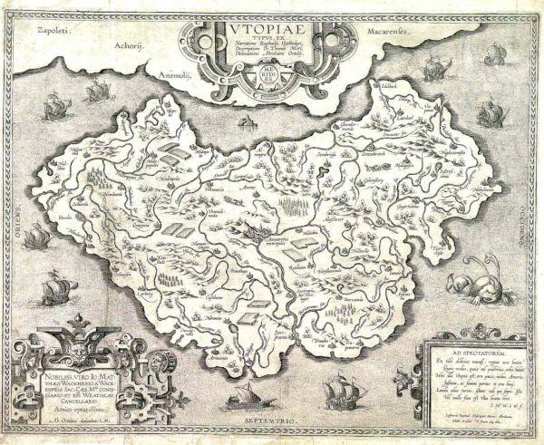 Mapa de la isla imaginaria Utopía elaborado por Abraham Ortelius, un destacado cartógrafo flamenco del siglo XVI, a partir de la obra Utopía de Tomás Moro. Circa 1595